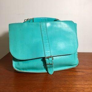 Vintage Écolière Satchel Leather Turquoise
